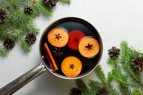 holiday stove top potpourri simmering in a pot
