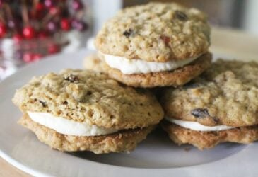 Maple Cream Cheese Oatmeal Cream Pies on a plate