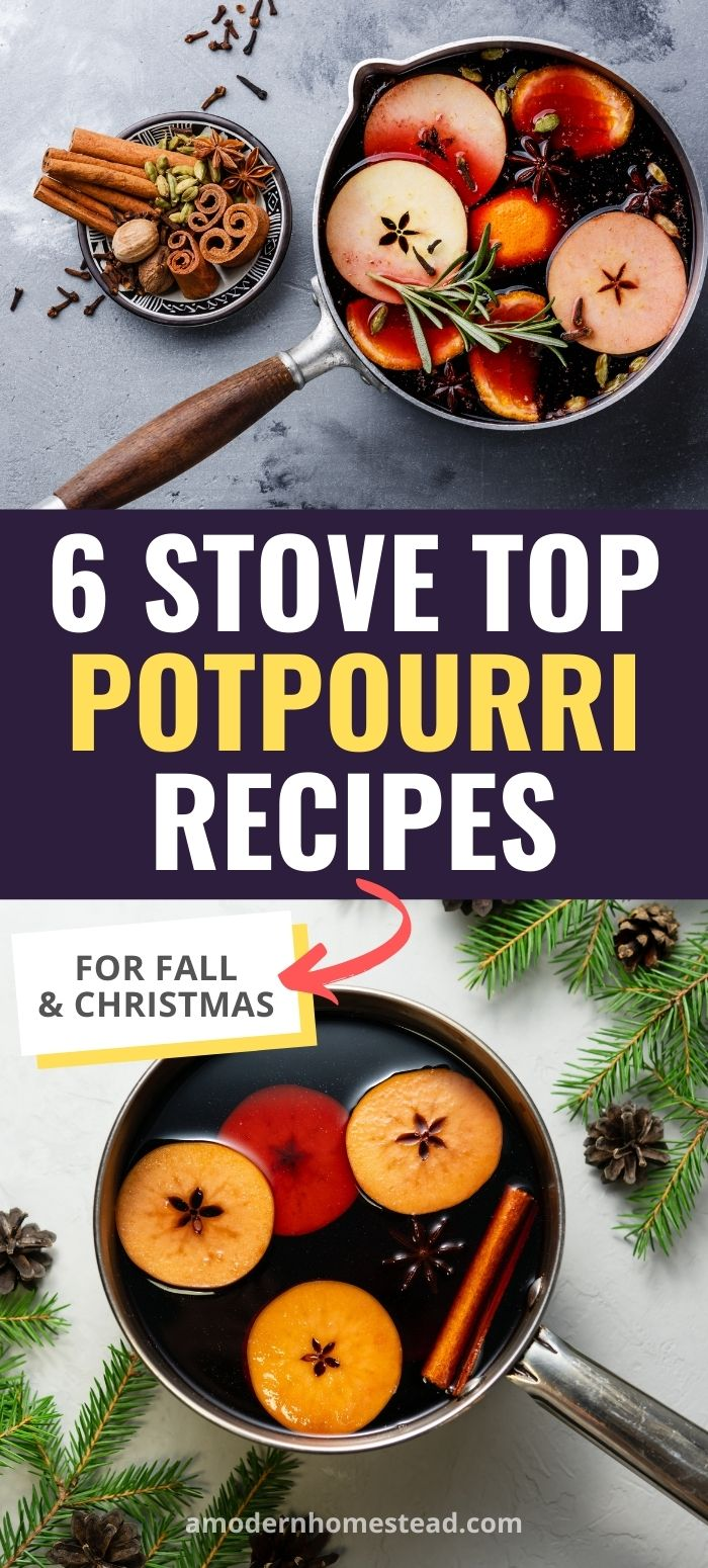 Holiday stove top potpourri recipes pinnable image