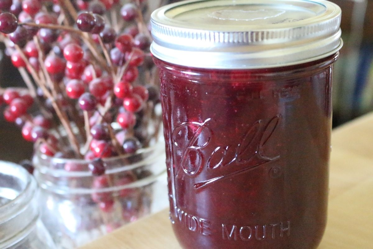 Homemade canned cranberry jelly in a mason jar