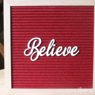 "Christmas ""Believe"" in Cursive Font for Letterboards"