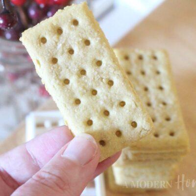 Homemade einkorn club crackers close up