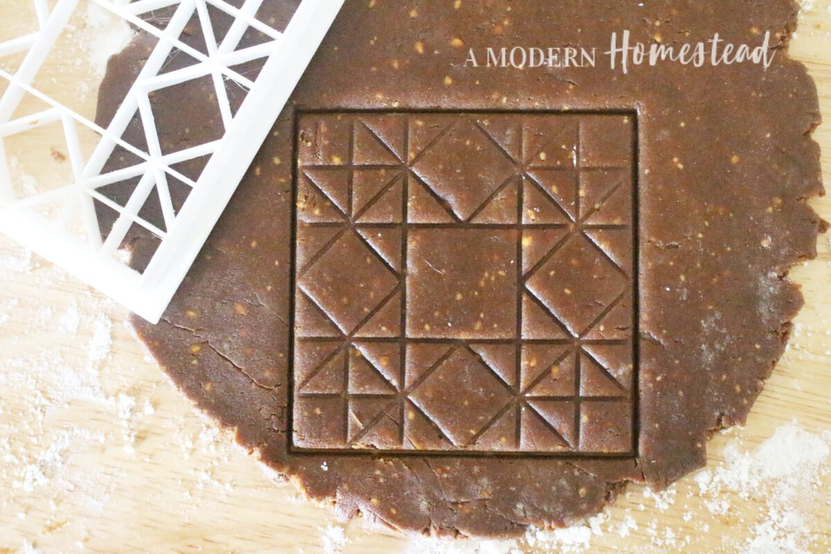 Barn Quilt Square Cookie Cutter stamped in cookie dough