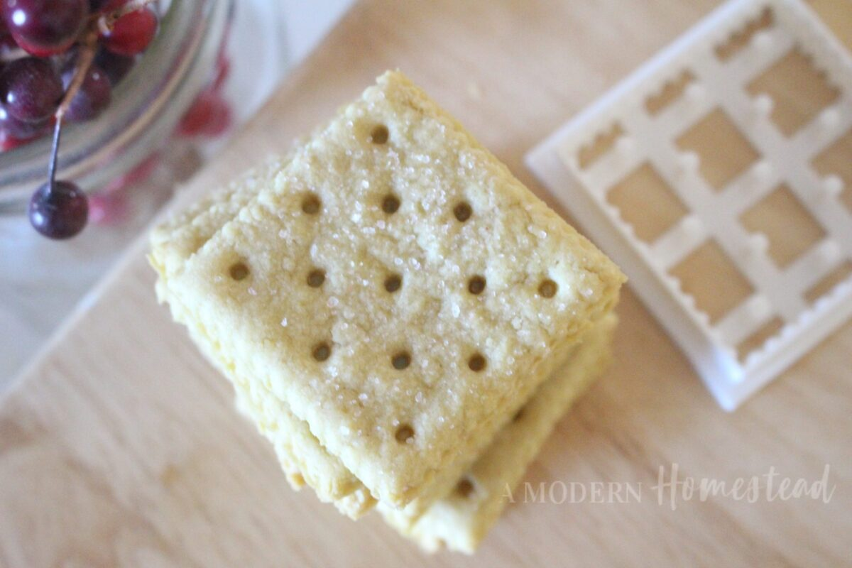 saltine cracker cookie cutter next to pile of finished homemade saltine crackers