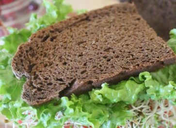 homemade einkorn brown bread veggie sandwich