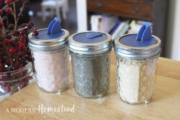 3 mason jars with salt lids
