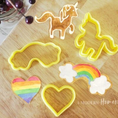 Unicorn cookie cutter, rainbow with clouds cookie cutter, and heart cookie cutter mini set