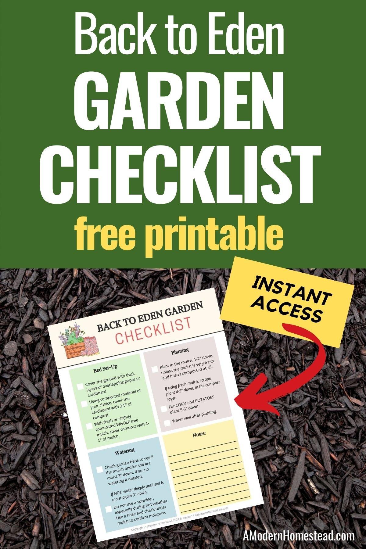 Back to Eden Gardening checklist
