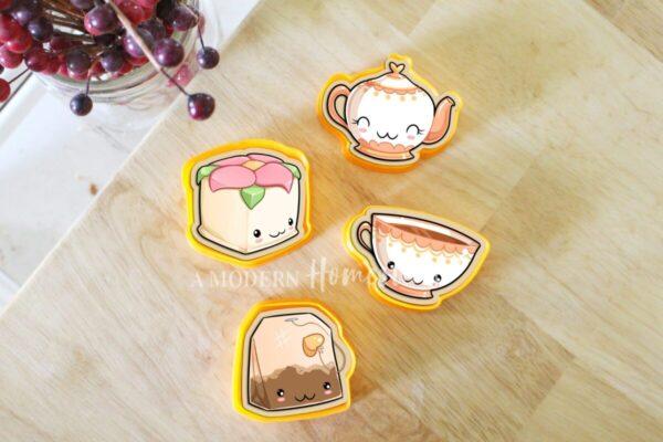 Cute Tea Party Mini Cookie Cutters Set