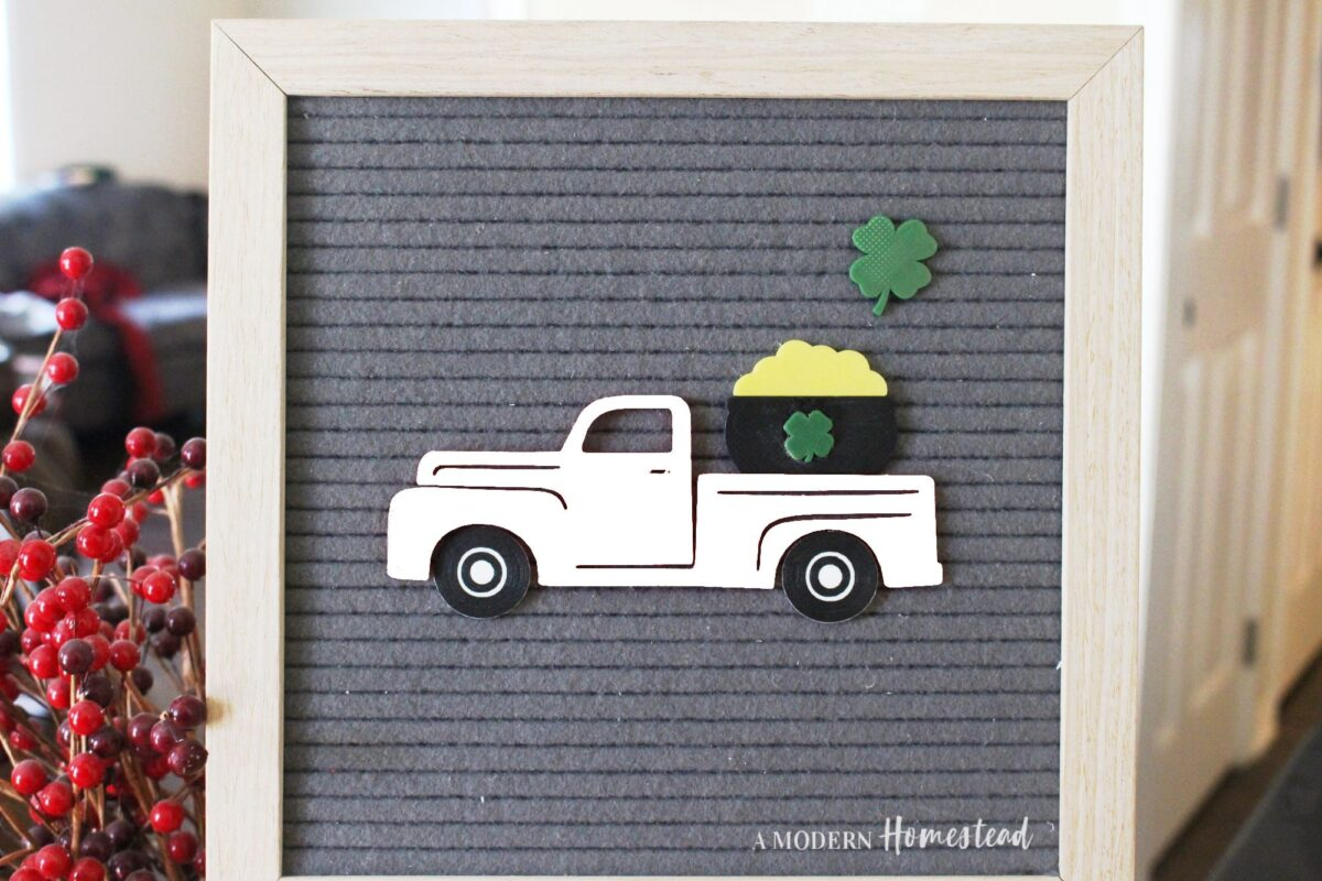 Vintage Truck with Pot of Gold for Letterboards in white