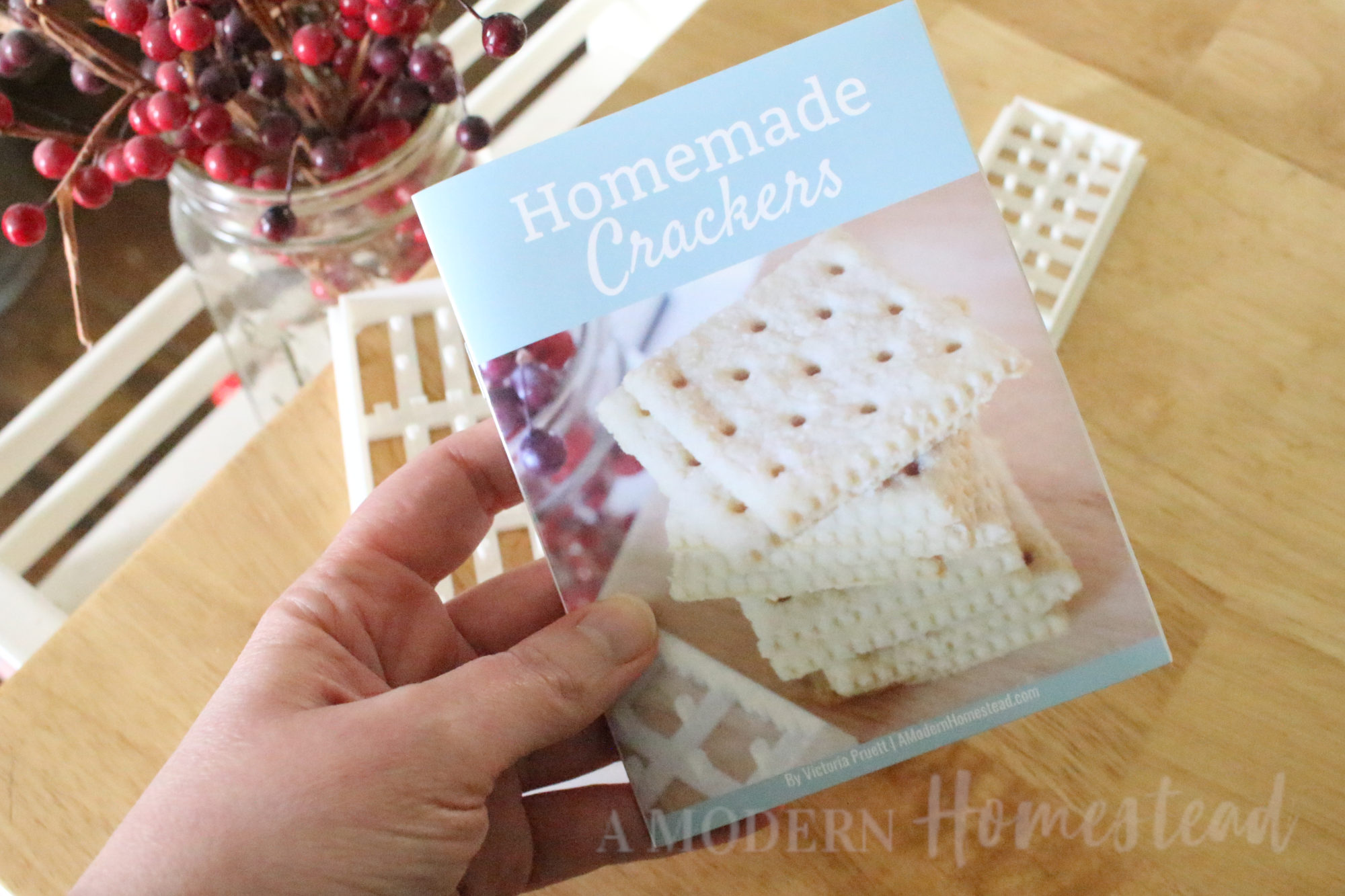 Homemade Cracker recipe booklet cover in hand