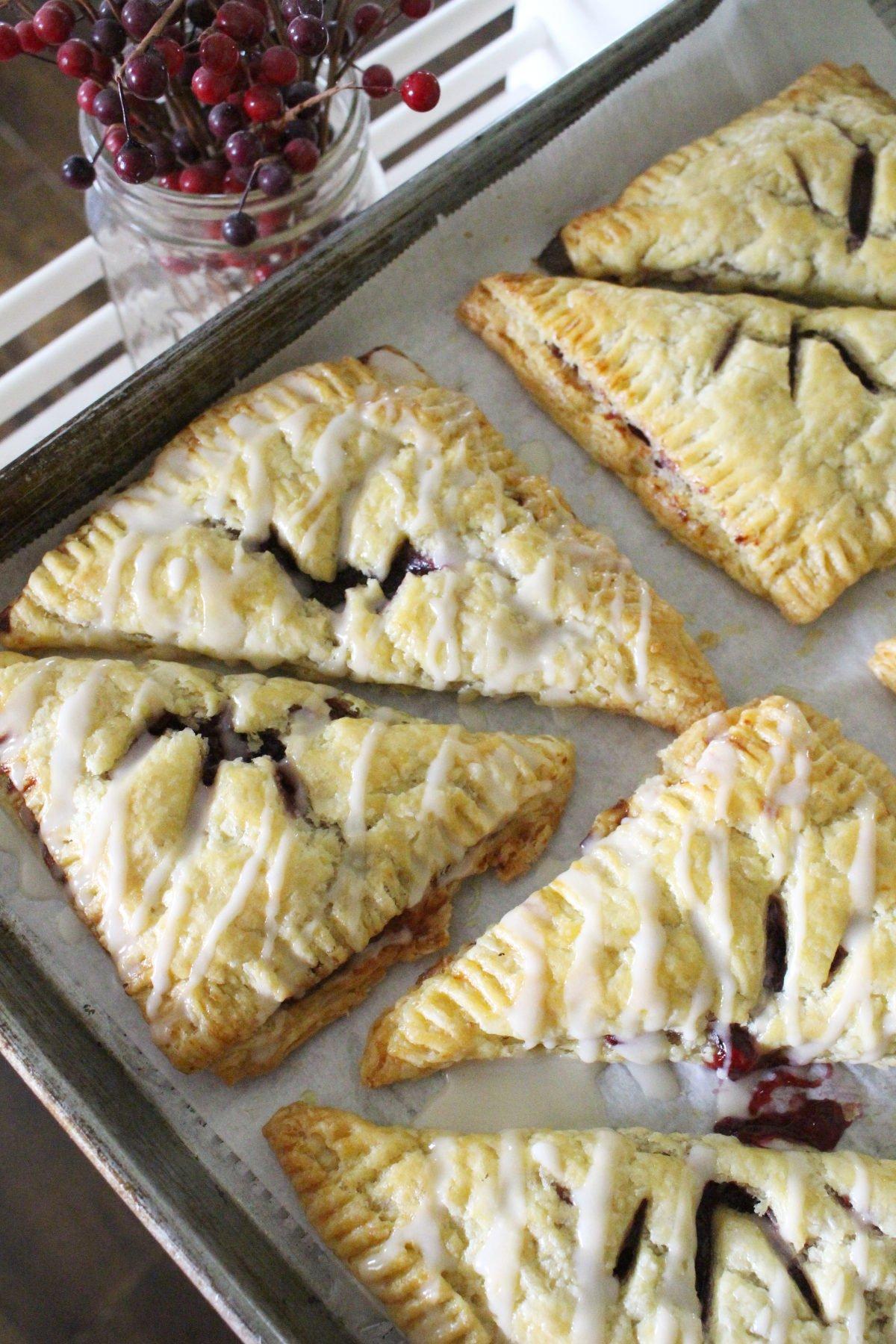 Homemade einkorn puff pastry cherry turnovers