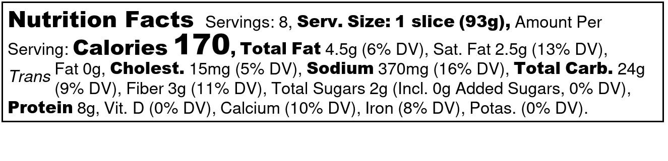 Frozen Einkorn Pepperoni Pizza nutritional label
