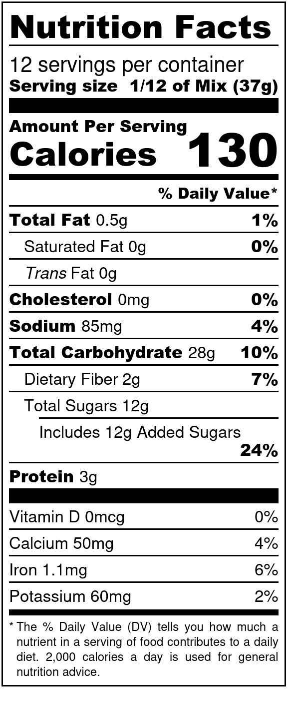 einkorn chocolate cake box mix nutritional label