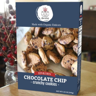 Einkorn chocolate chip cookies in a box