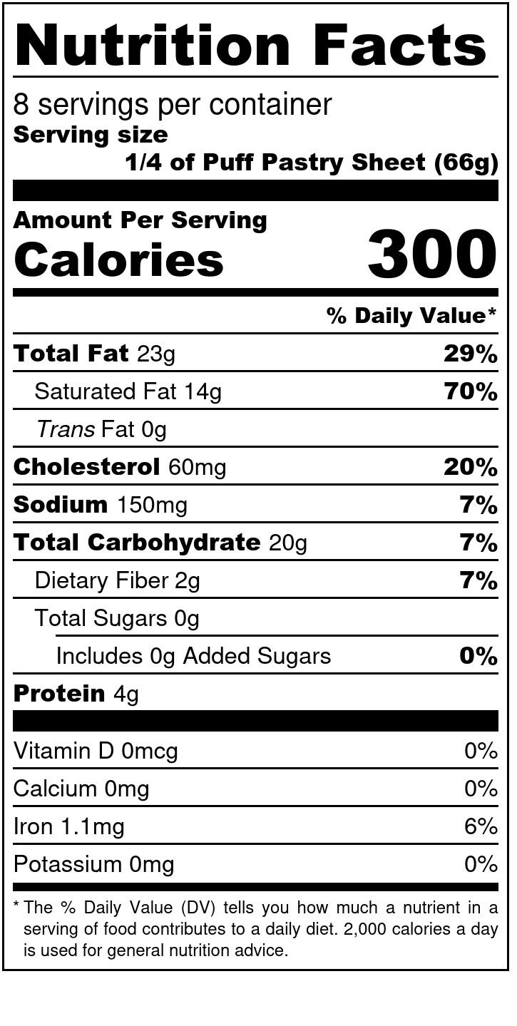 Einkorn Puff Pastry - Nutrition Label