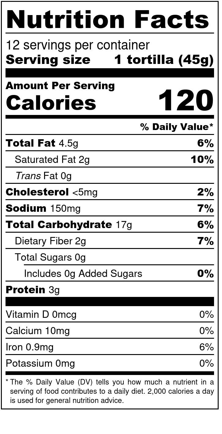 Einkorn Tortillas - Nutrition Label