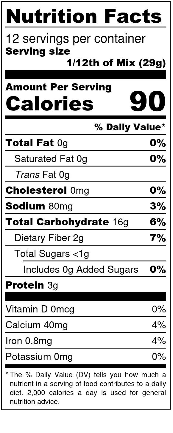 Einkorn White Cake Box Mix with no Added Sugar Nutritional Label
