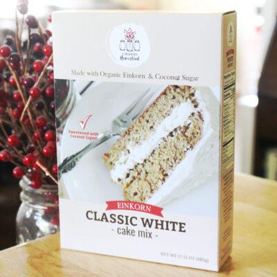 einkorn vanilla cake with coconut sugar box mix
