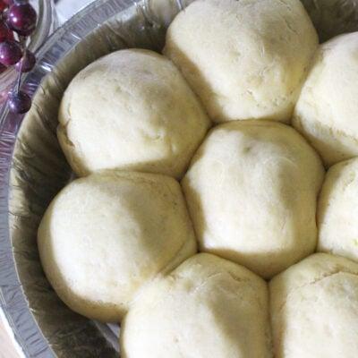 Ready to bake einkorn yeast rolls in a pan
