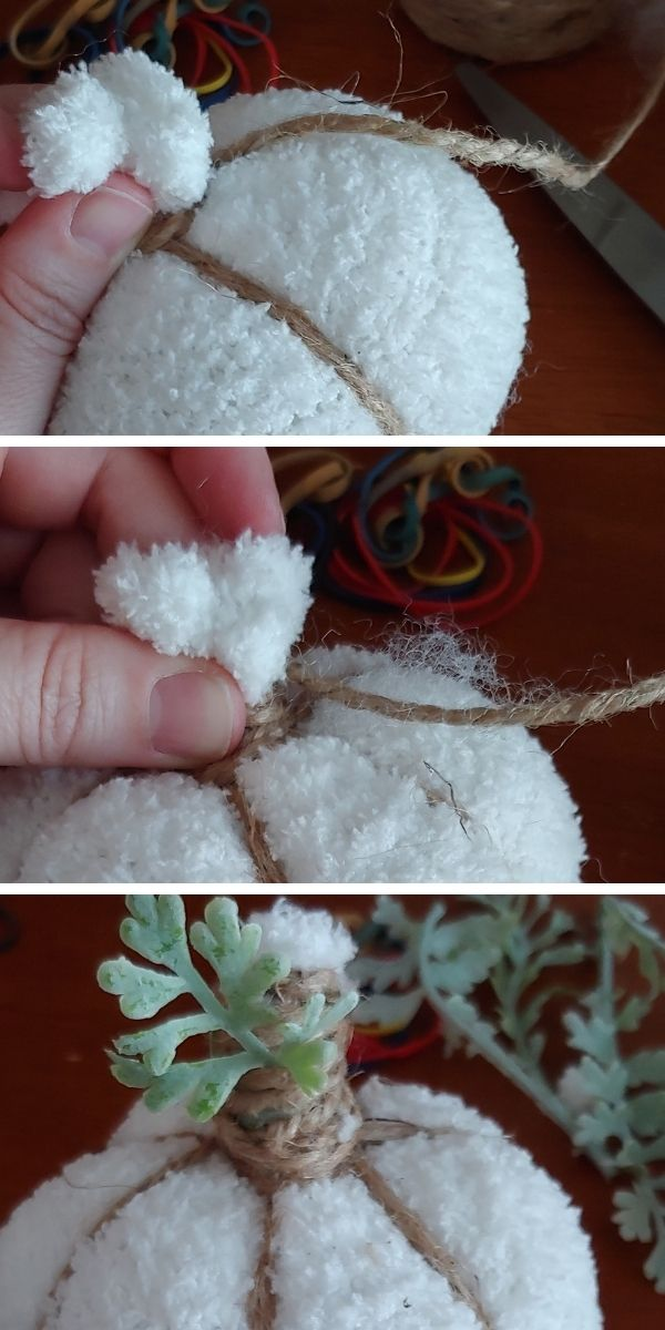 How to tie your fabric pumpkins with twine