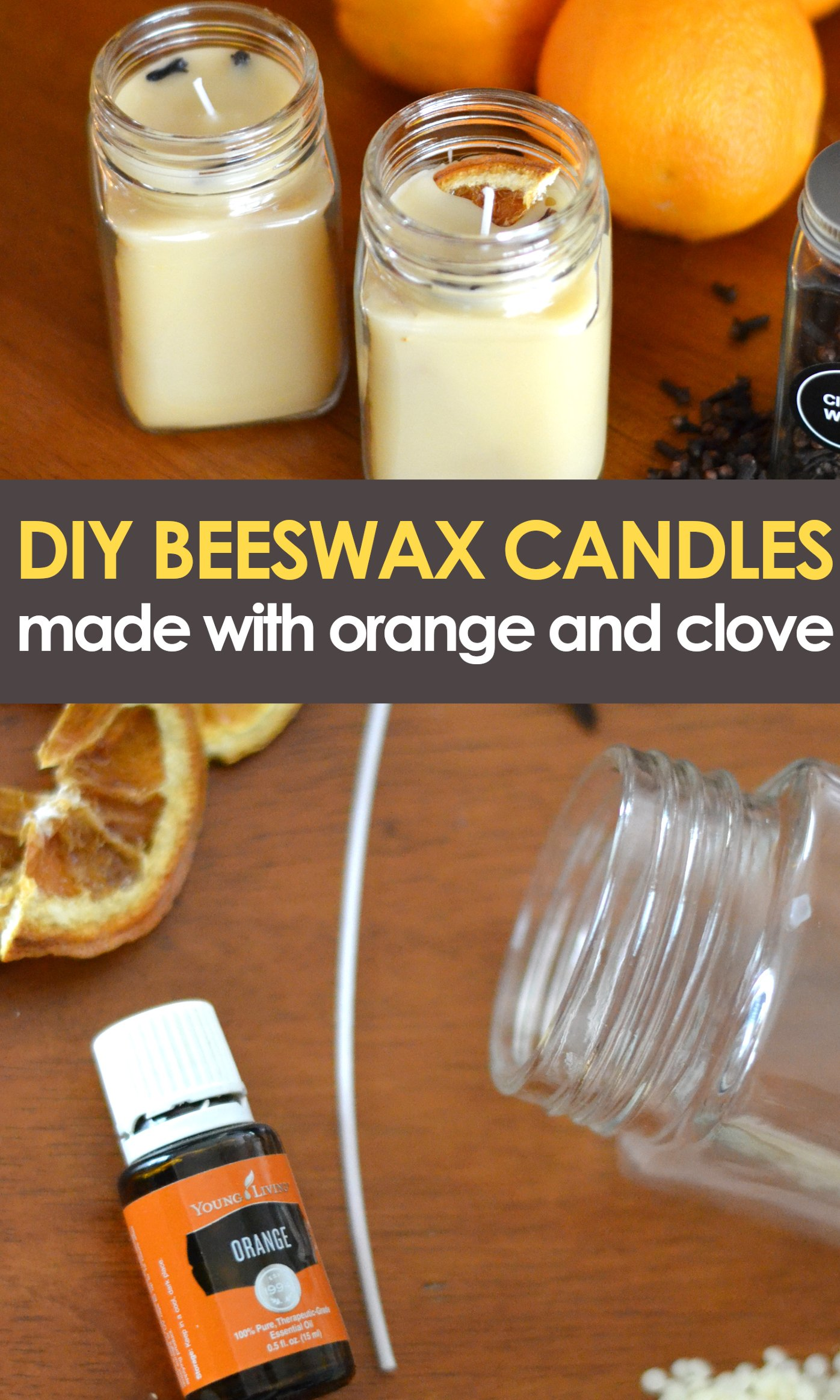 DIY Orange clove beeswax candles pinnable image with text overlay