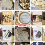 Collage image of all the einkorn goods you can have shipped to you, such as bread, tortillas, and more!